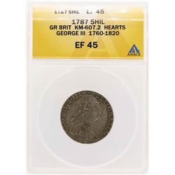 1787 England KM-607.2 Hearts George III Shilling Coin ANACS XF45
