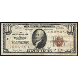 1929 $10 Federal Reserve Bank Note Minneapolis