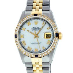Rolex Mens 14KT Two Tone Gold Sapphire and Diamond Datejust Wristwatch