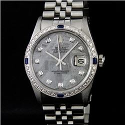 Rolex Stainless Steel Sapphire and Diamond Datejust Mens Wristwatch