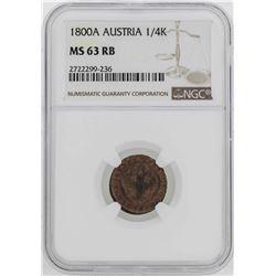 1800-A Austria 1/4 Kreuzer Coin NGC MS63RB