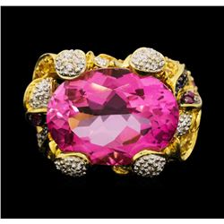 18KT Yellow Gold 18.15ct Pink Topaz and Diamond Ring
