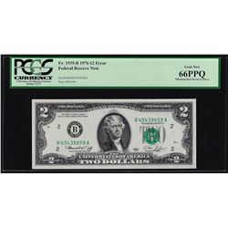 1976 $2 Federal Reserve Note Mismatched Serial Number ERROR PCGS Gem New 66EPQ