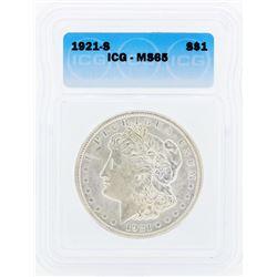 1921-S $1 Morgan Silver Dollar Coin ICG MS65