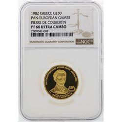 1982 Greece 50 Pounds Pan-European Games Gold Coin NGC PF68 Ultra Cameo