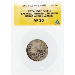 1524-1576 Shahi Safavid Tahmasp I AR Shahi Herat Coin ANACS VF30
