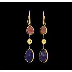14KT Yellow Gold Ladies Multi-Color Quartz Dangle Earrings