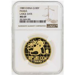 1989 Large Date China 100 Yuan Panda Gold Coin NGC MS69