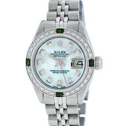 Rolex Ladies Stainless Steel Emerald and Diamond Datejust Wristwatch
