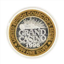 .999 Silver Grand Casino $10 Casino Gaming Token Limited Edition