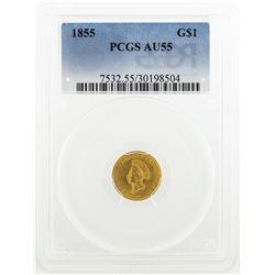 1855 $1 Indian Princess Head Gold Coin PCGS AU55