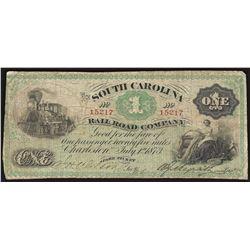 1873 $1 The South Carolina Rail Road Company Fare Ticket