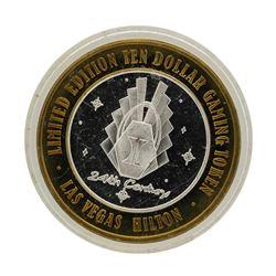 .999 Silver Las Vegas, Nevada Hilton $10 Casino Limited Edition Gaming Token
