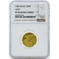 1986 Israel 5 New Sheqalim Gold Proof Coin NGC PF69 Ultra Cameo