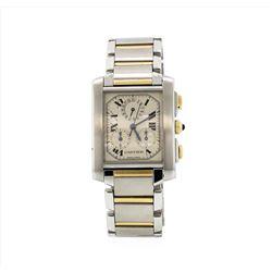 Cartier Tank Francaise Chronograph Quartz 18KT Two Tone Gold Mens Wristwatch