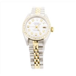 Ladies Two Tone Rolex Datejust Watch with Diamond Dial & Bezel