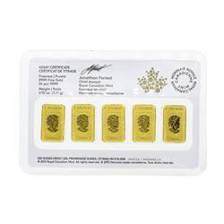Lot of (5) 2016 1/10oz Royal Canadian Mint .9999 Fine Gold Ingots