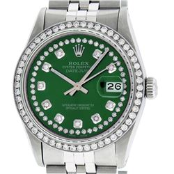 Mens Rolex Stainless Steel Green String Diamond Datejust Wristwatch