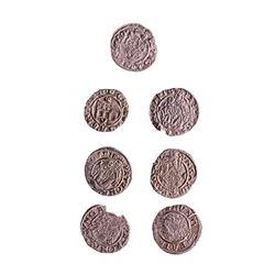 Lot of (7) 1540-1590 KB Hungary Ferdinand I - Madonna & Child Silver Denar Coins