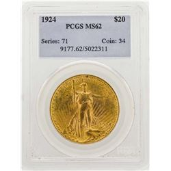 1924 $20 Saint Gaudens Double Eagle Gold Coin PCGS MS62