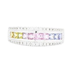 14KT White Gold Ladies 1.20ctw Multi-color Sapphire and Diamond Ring