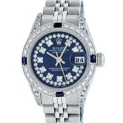 Rolex Stainless Steel 1.00ctw Sapphire and Diamond Datejust Wristwatch