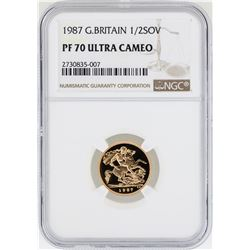 1987 Great Britain 1/2 Sovereign Gold Coin NGC PF70 Ultra Cameo