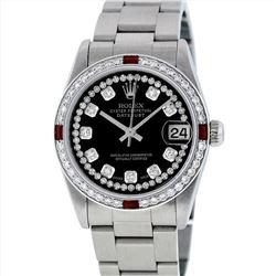 Rolex Midsize Stainless Steel Ruby and Diamond DateJust Wristwatch