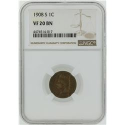 1908-S Indian Head Penny Coin NGC VF20BN