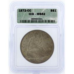 1872-CC $1 Seated Liberty Dollar Coin ICG MS62