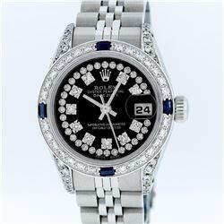 Rolex Ladies Stainless Steel Sapphire and Diamond Datejust Wristwatch