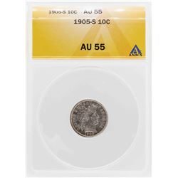1905-S Barber Dime Coin ANACS AU55