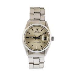 Mens Stainless Steel Rolex Date Wristwatch