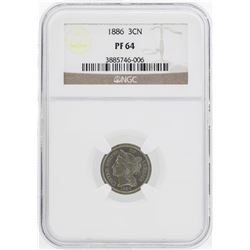 1886 Three Cent Nickel Proof Coin NGC PF64