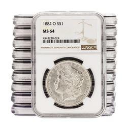 Lot of (10) 1884-O $1 Morgan Silver Dollar Coins NGC MS64