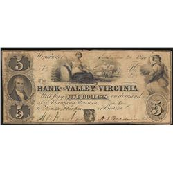 1860 $5 The Bank of the Valley in Virginia Obsolete Note