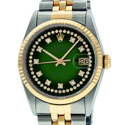 Mens Rolex 36mm Two Tone Yellow Gold Green Vignette String Diamond DateJust Watc