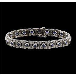 14KT White Gold 2.40ctw Blue Sapphire and Diamond Bracelet