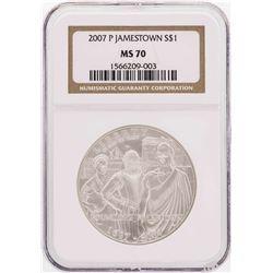 2007-P $1 Jamestown Commemorative Silver Dollar Coin NGC MS70