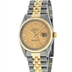 Rolex Mens 14KT Two Tone Gold DateJust Wristwatch