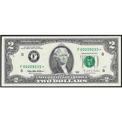 1995 $2 Federal Reserve STAR Note Atlanta