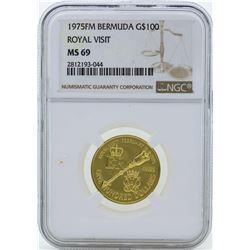 1975FM $100 Bermuda Royal Visit Gold Coin NGC MS69