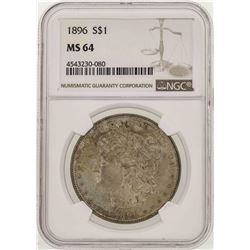 1896 $1 Morgan Silver Dollar Coin NGC MS64