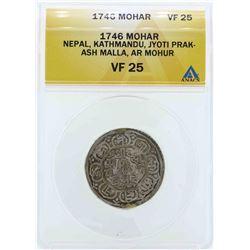 1746 Nepal Kathmandu Mohar Coin ANACS VF25