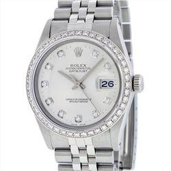 Rolex Stainless Steel 1.00ctw Diamond Datejust Mens Wristwatch