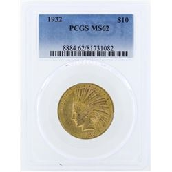 1932 $10 Indian Head Eagle Gold Coin PCGS MS62