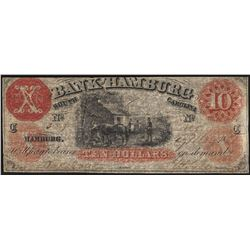 1800's $10 The Bank of Hamburg South Carolina Obsolete Note
