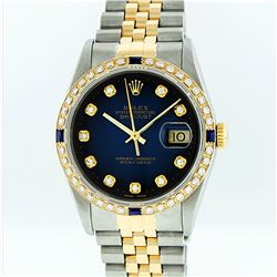 Rolex Mens Two Tone Blue Vignette Diamond and Sapphire Datejust Wristwatch