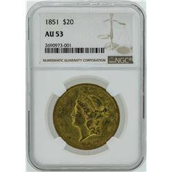 1851 $20 Liberty Head Double Eagle Gold Coin NGC AU53