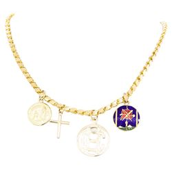 22KT Yellow Gold Chain with Four Attached 14/18KT Yellow Gold Charms